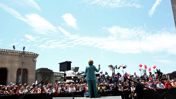 Democratic presidential candidate Hillary Clinton speaks in front of the shuttered Trump Plaza casino on the boardwalk of Atlantic City, N.J., on Wednesday.