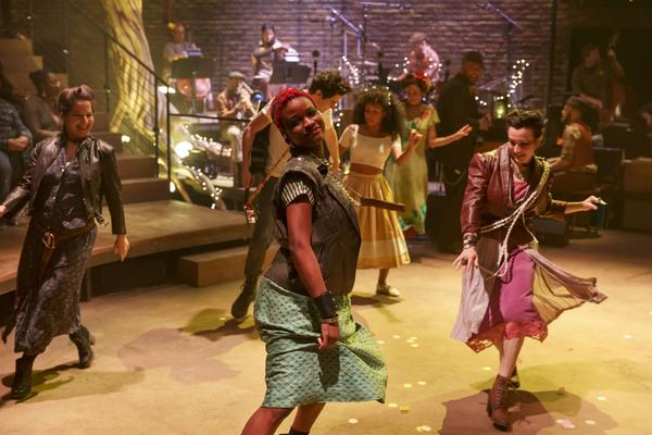 <em>Hadestown — </em>a retelling of the Greek myth of Orpheus<em> --</em> is one of two off-Broadway shows director Rachel Chavkin has running right now. Above, from left, Shaina Taub, Lulu Fall, Damon Daunno, Nabiyah Be, Amber Gray, Chris Sullivan and Jessie Shelton.