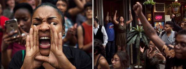 (Left) A protestor shouts slogans as they march from Manhattan to Brooklyn in New York City on Friday. (Right) Protesters march and shout slogans as bystanders express their support in New York City on Friday. About 300 people took to the streets of New York City to protest the recent police shootings in Louisiana and Minnesota.