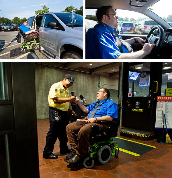 (Top left) Olsen re-enters his van to drive to an alternative Metro entrance after learning that one of the elevators is not working. (Top right) Olsen often leaves for work early to avoid crowded cars during rush hour. (Bottom) Olsen greets Metro station employee C.A. Phang at the Shady Grove Metro station.