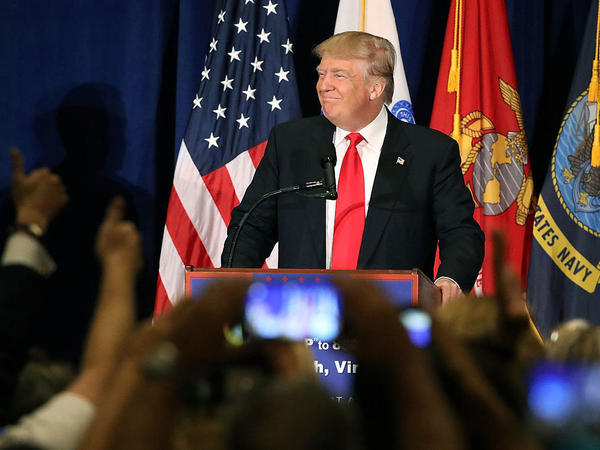 Presidential candidate Donald Trump delivers a speech on veterans' issues during a campaign stop Monday in Virginia Beach, Va.