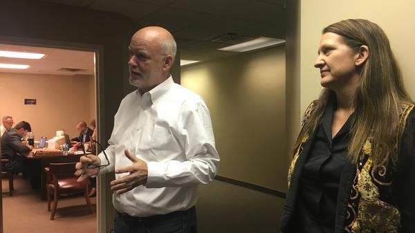 "Kendal Unruh and Dane Waters talk to reporters at the Cleveland headquarters of the ""Delegates Unbound"" effort"