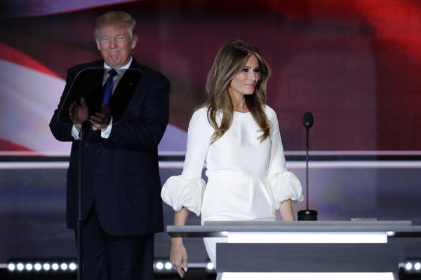 Melania Trump, wife of Republican presidential candidate Donald Trump, walks to the stage during the opening day of the Republican National Convention in Cleveland.