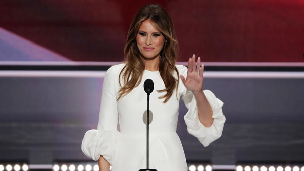 Melania Trump waves to the crowd after delivering a speech Monday night at the Republican National Convention in Cleveland.