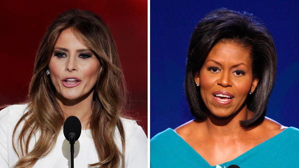 Melania Trump speaks to the Republican National Convention on Monday night. Two passages from her speech closely mirrored Michelle Obama's 2008 Democratic convention speech.