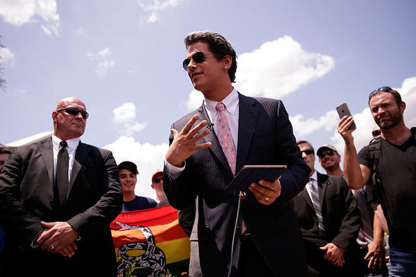 Milo Yiannopoulos, a conservative writer and Internet personality, holds a news conference down the street from the Pulse nightclub in Orlando, Fla., last month.