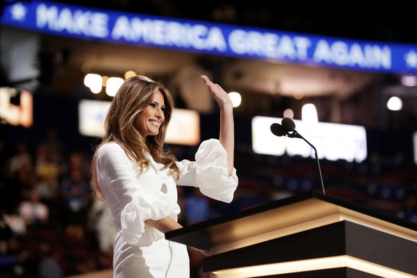 Melania Trump, wife of Republican presidential nominee Donald Trump, waves to the crowd after delivering a speech on the first day of the Republican National Convention.