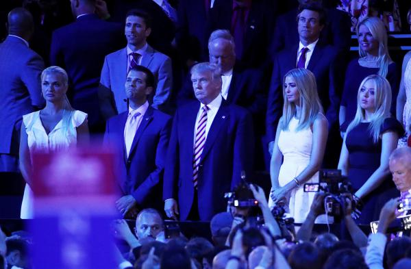 Donald Trump stands with his children (from left) Vanessa, Donald Jr., Ivanka and Tiffany as Sen. Ted Cruz speaks.