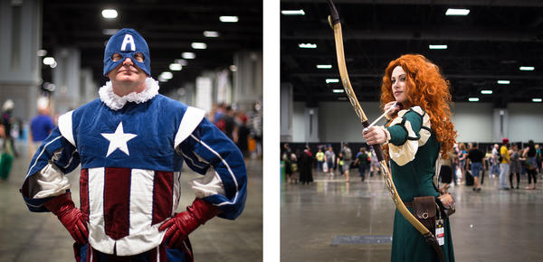 """Leland Coleman of Nashville, Tenn., says Captain America was an inspiration to him over the past year as he lost 45 pounds and went off insulin. So he designed this Renaissance version of the character. The costume, he says, """"gave me the strength. I feel like I've grown into it and become it. He and Becki Turner were among the attendees at AwesomeCon in Washington, D.C., in June."""