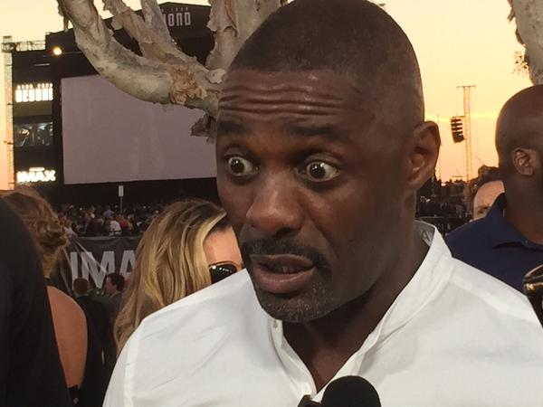 Idris Elba, who plays the villain Krall: evidently concerned that Nina's choking on a soft pretzel.