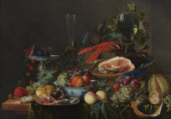 A Jan Davidsz de Heem still life with ham, lobster and fruit, circa 1653