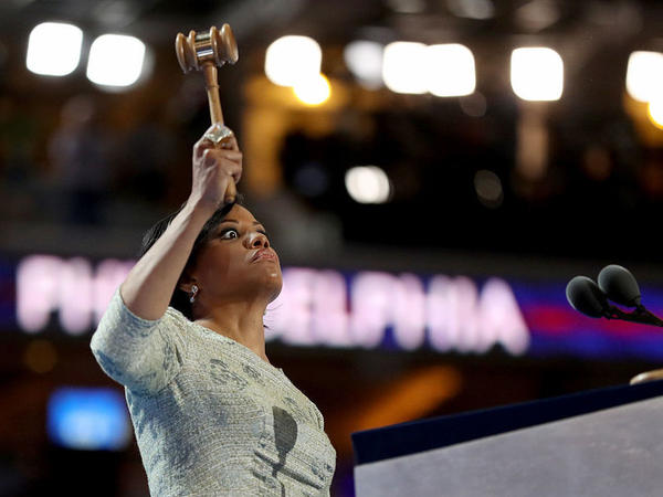 Baltimore Mayor Stephanie Rawlings-Blake came back to the stage, after forgetting to bang the gavel to call to order the first day of the Democratic National Convention on July 25 in Philadelphia.