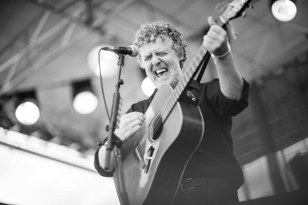 The Fort Stage is often home to the Newport Folk Festival's largest bands, but Glen Hansard played much of his set there solo.