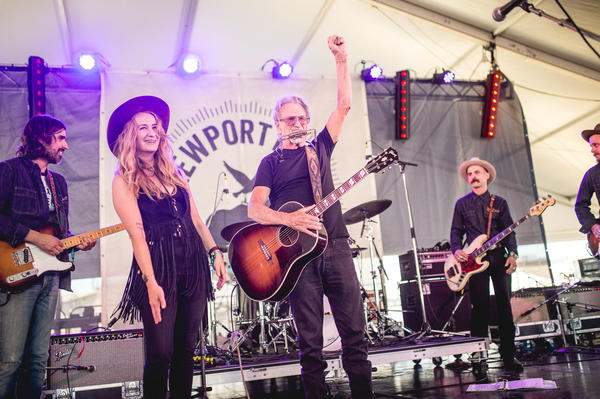 """Margo Price and surprise guest Kris Kristofferson, backed by The Texas Gentlemen, performed a rousing version of """"Me & Bobby McGee"""" together."""