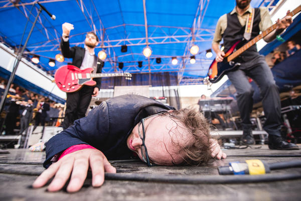 """""""Leaving it all onstage"""" took on a slightly new meaning for Paul Janeway of St. Paul & the Broken Bones. (Don't worry: He sprang up to attack the next song with gusto.)"""
