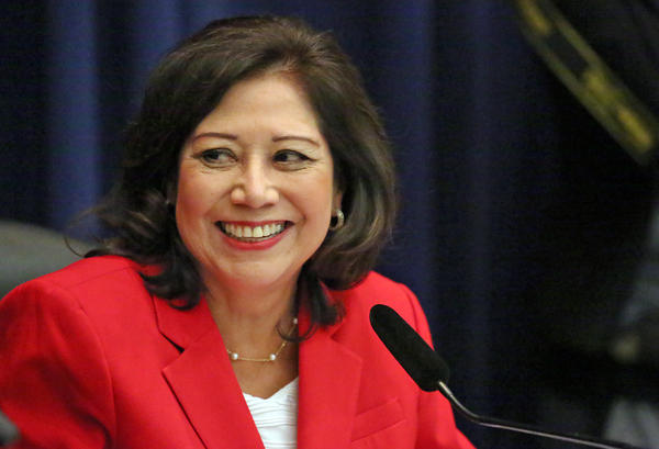Los Angeles County Supervisor Hilda Solis on her first day as chairman of the Board of Supervisors in 2015.