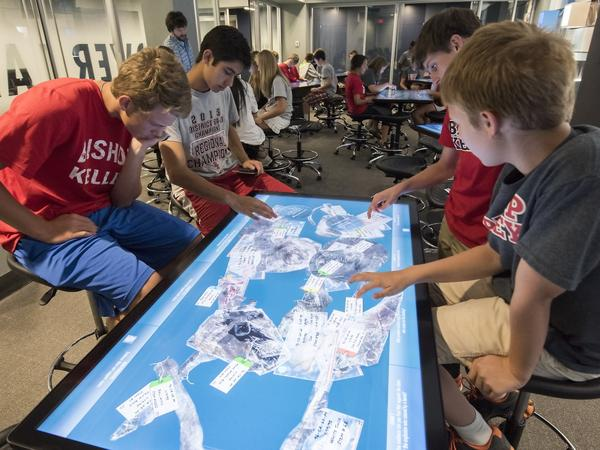 Students replicate forensic investigations at the Oklahoma City National Museum's Uncover-Discover Lab.