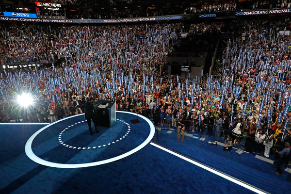 Obama laid out the successes of his campaign and his optimism for the future, calling on the crowd to vote for Clinton.