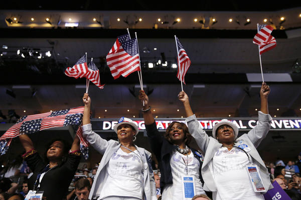 Alabama delegates cheer during the convention on Thursday.
