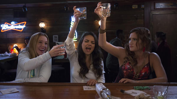Kristen Bell, Mila Kunis and Kathryn Hahn play suburban moms Kiki, Amy and Carla in <em>Bad Moms</em>.