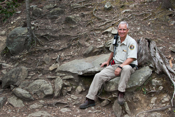Bill Gober started volunteering as a trail rover at Great Smoky Mountains National Park 4 years ago after he lost his job. He helps monitor visitors and pick up garbage from the trails.