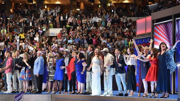"Over 40 Broadway performers gathered to sing ""What The World Needs Now Is Love"" at the Democratic National Convention on Wednesday night."