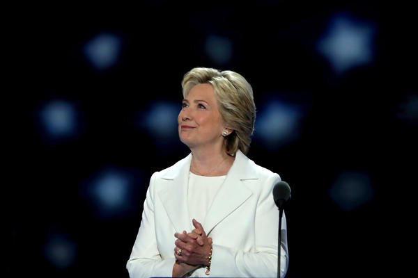 Democratic presidential nominee Hillary Clinton arrives on stage during the final day of the Democratic National Convention in Philadelphia.