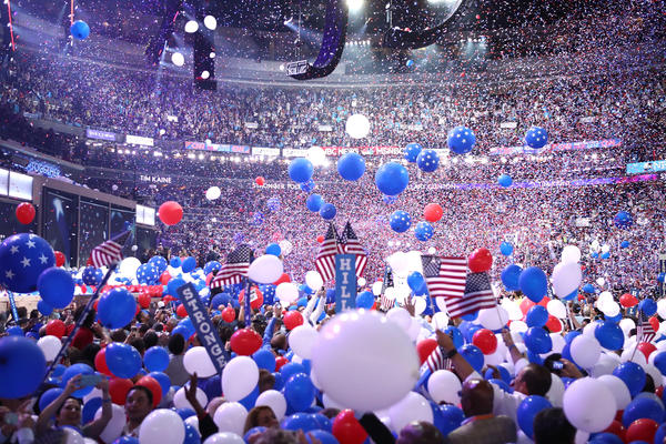 Balloons fall over delegates and attendees at the Wells Fargo Center in Philadelphia.