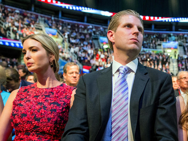 Ivanka Trump and her brother Eric Trump during a commercial break of a Republican presidential debate last year.