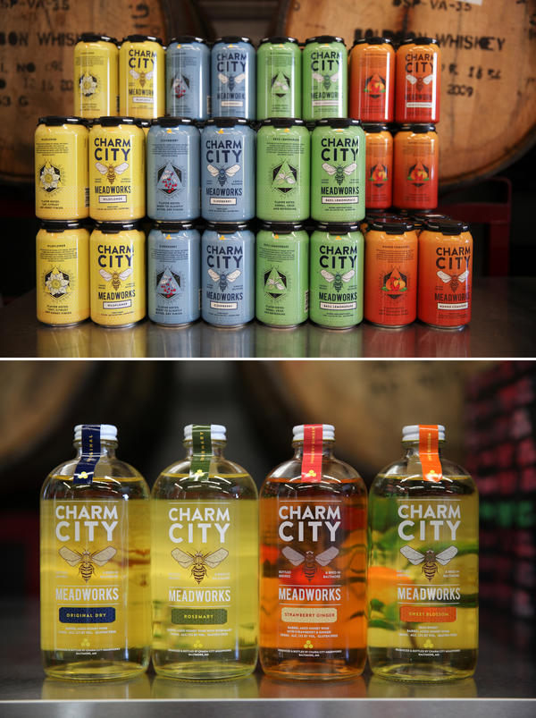 Charm City Meadworks serves up cans of carbonated mead with alcohol contents similar to beer (top) and bottles of still mead with alcohol contents more comparable to wine (bottom).