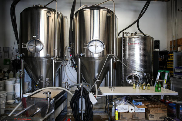 Charm City Meadworks ferments their mead in metal tanks known as conical fermenters — the same kind that brewers use.