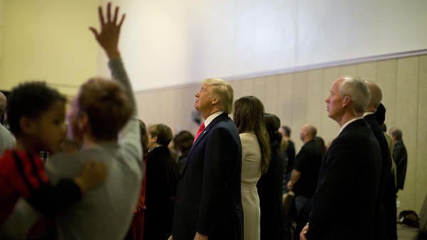 Republican presidential nominee Donald Trump attends a Sunday service at First Christian Church Council Bluffs, Iowa in January.