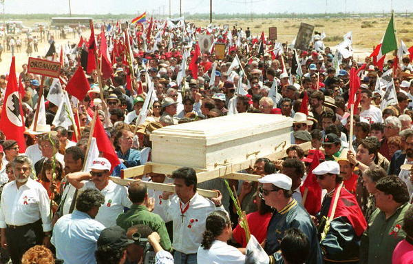 More than 40,000 people attended Chavez's funeral on April 29, 1993. The casket was carried through Arizona farmland.