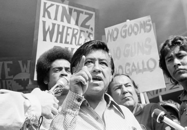 Cesar Chavez, the head of the United Farm Workers Union, calls for the resignation of Walter Kintz, the first legal counsel for the state Agriculture Labor Relations Board, in Sacramento, Calif., on Sept. 16, 1975. Chavez's efforts in California culminated in landmark legislation that protected the rights of the state's farmworkers and created the ALRB.