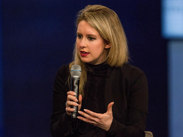 Elizabeth Holmes, founder and CEO of Theranos, speaks at the Clinton Global Initiative's closing session Sept. 29, 2015, in New York City.