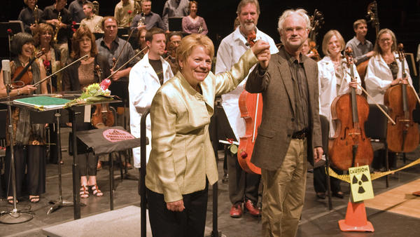 Marin Alsop and John Adams at a performance of Adams' <em>Dr. Atomic</em> at the Cabrillo Festival in 2008.