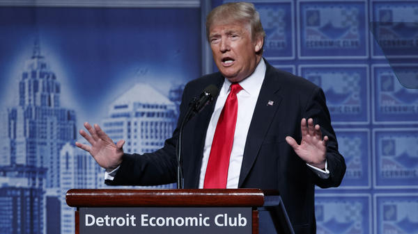GOP presidential nominee Donald Trump delivers an economic policy speech to the Detroit Economic Club on Monday.