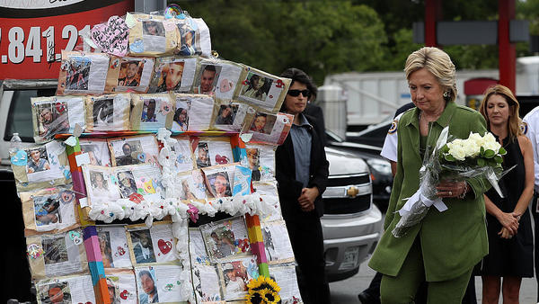 On July 22, Democratic presidential candidate Hillary Clinton visited a memorial outside Pulse, where 49 people were shot and killed by a gunman in June in Orlando, Florida.