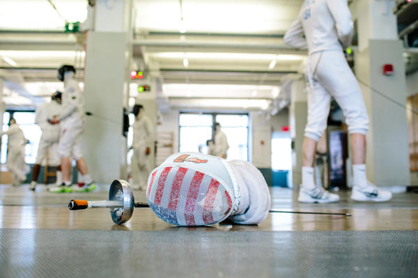 Pryor's mask and foil lay on the floor during training at the Fencer's Club in New York City on June 17.
