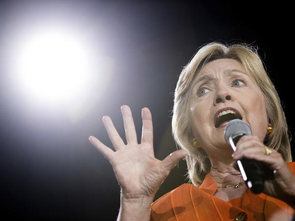 Democratic presidential candidate Hillary Clinton speaks at a rally at Osceola Heritage Park, in Kissimmee, Fla.