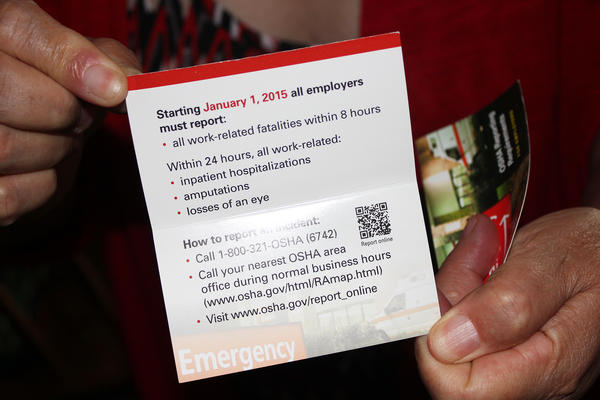 In 2015, federal regulators began requiring injuries to be reported within 24 hours. Nebraska Appleseed, a worker advocacy group, handed out these pamphlets to inform workers of the new rule.