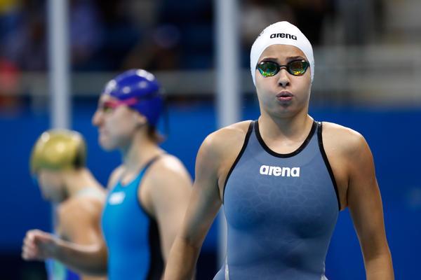 Yusra Mardini of the Refugee Olympic Team looks on in the women's swimming 100m freestyle heat at the Olympic Aquatics Stadium on Wednesday in Rio de Janeiro.