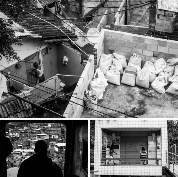(Top) A man enters his home in the Santa Marta <em>favela.</em> (Left) A view of the <em>favela</em> from the tram. (Right) People wait for the tram that travels over Santa Marta.