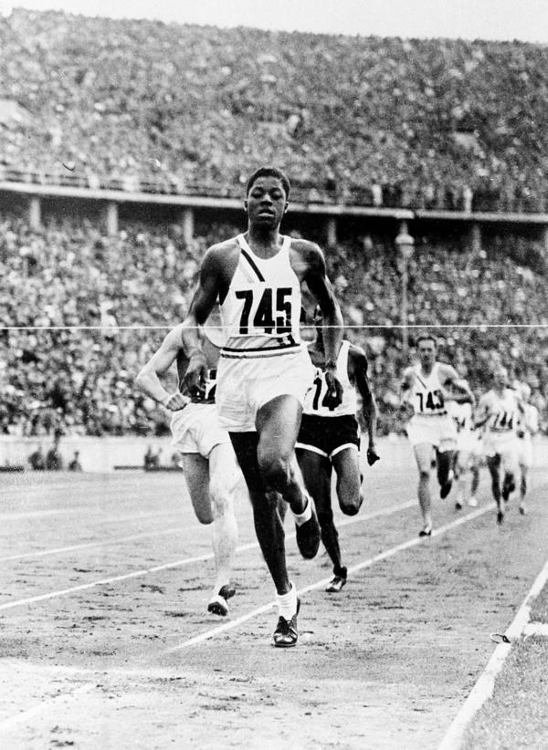 John Woodruff wins the 800-meter race at the Olympic Games in Berlin, Aug. 8, 1936