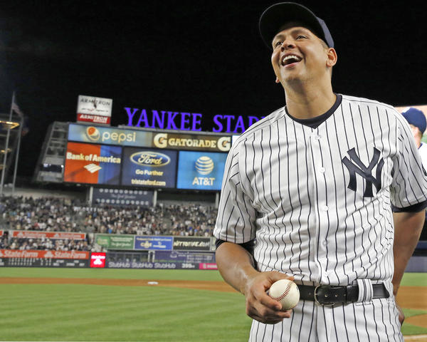 New York Yankees' Alex Rodriguez does an interview following his final baseball game as a Yankee player, against the Tampa Bay Rays at Yankee Stadium in New York, Friday.