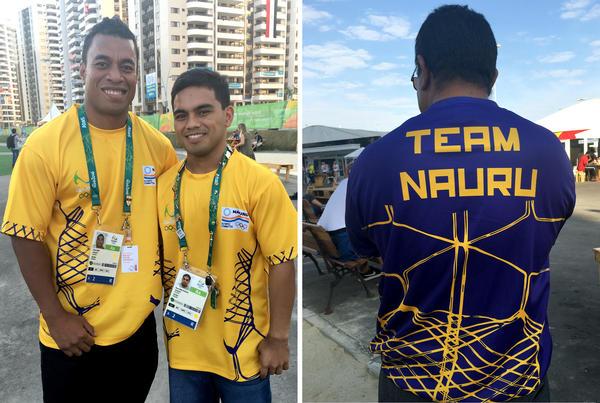 Ovini Uera (far left) and Elson Brechtefeld are the only two athletes from Nauru in Rio. Marcus Stephen (right), president of the Nauru Olympic Committee, shows off the team's shirt.