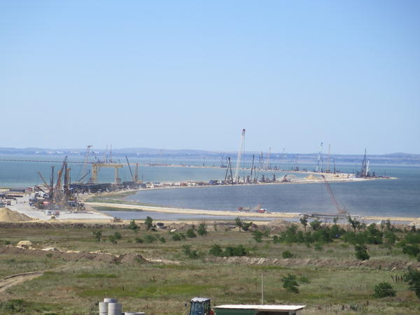 The zigzagging route of the Crimea Bridge, seen from the Russian side, bristles with cranes and construction equipment. The $4.3 billion project is expected to be finished in 2019.