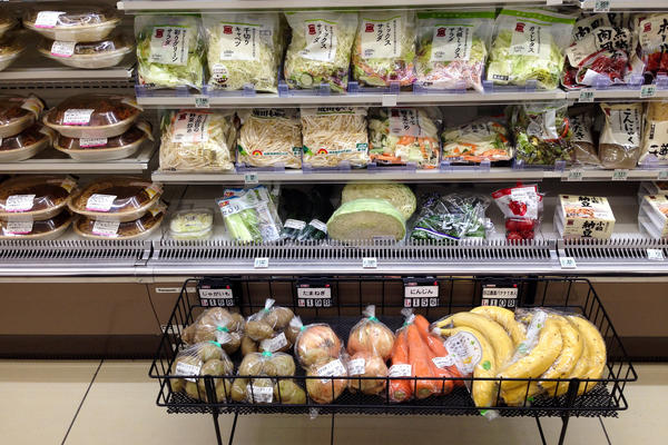 This Lawson convenience store in Kowaguchi, Japan, sells a selection of prepared meals and fresh vegetables and meats, along with products aimed at the elderly. Many of the store's older customers find it hard to get to the supermarket, the store's manager says.