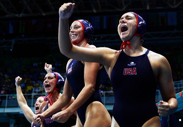 Aria Fischer of the U.S. celebrates a goal with teammates during the Americans' semifinal victory over Hungary on Wednesday.