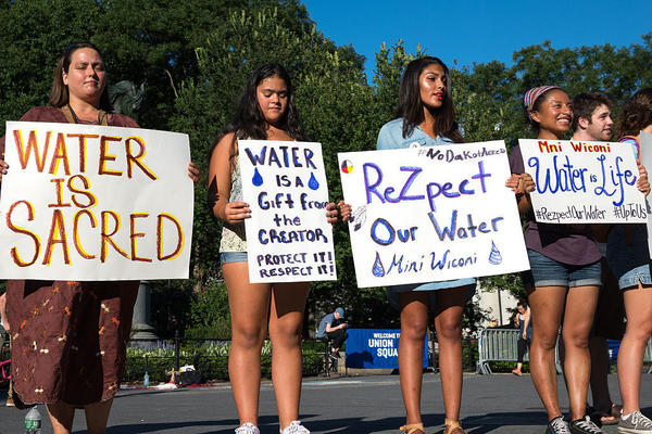 Following the U.S. Army Corps of Engineers' recent approval of the proposed Dakota Access Pipeline, a coalition of environmental activists held a rally in New York City's Union Square Park to oppose the project.